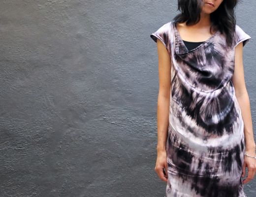 Mannish Style Logwood Silk Dress