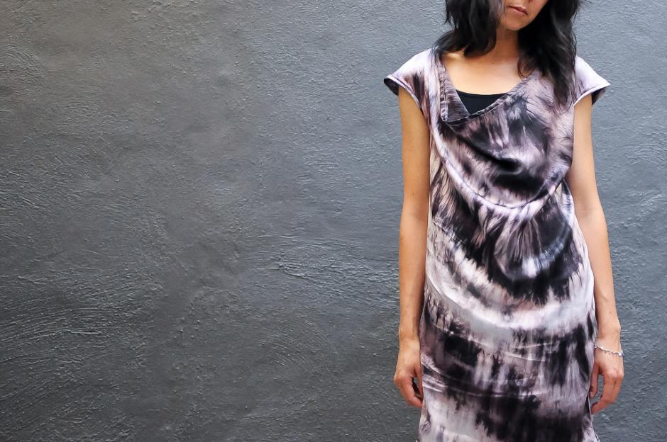 Mannish Style Logwood Silk Dress